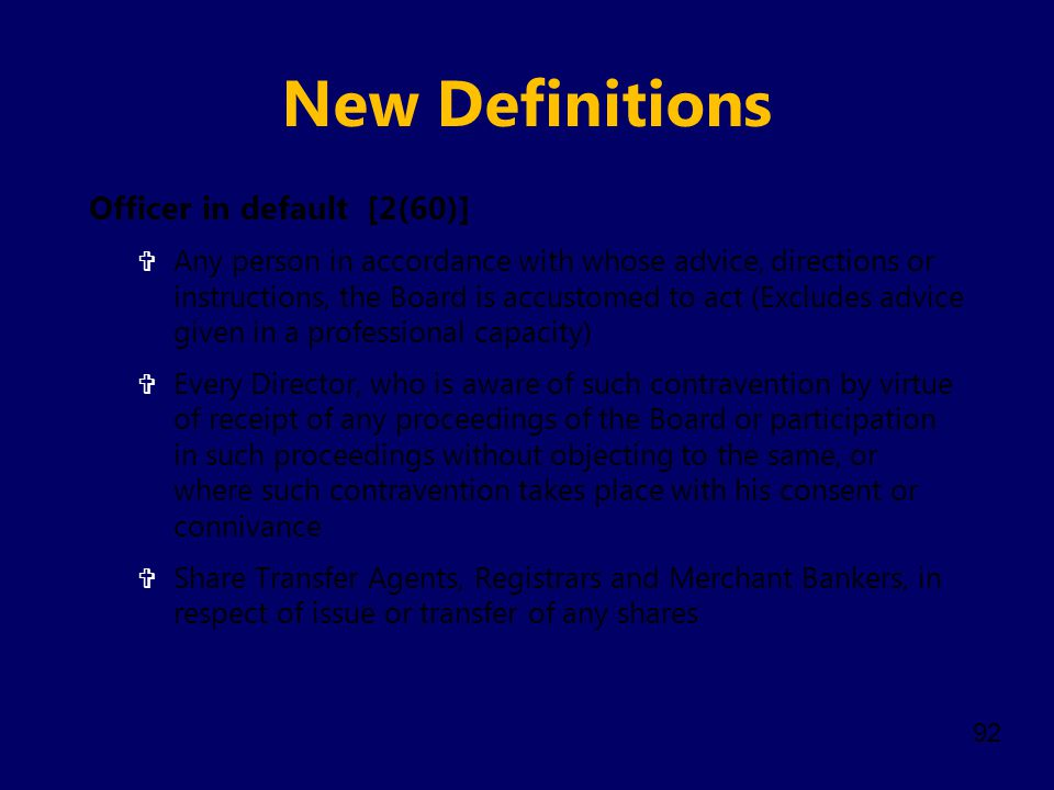 New Definitions Officer in default [2(60)]
